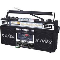 Supersonic Sc-3200 Black Retro 4-Band Radio & Cassette Player (Black)