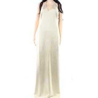 Lauren Ralph Lauren NEW Gold Champagne Women 10 Maxi Halter Gown Dress