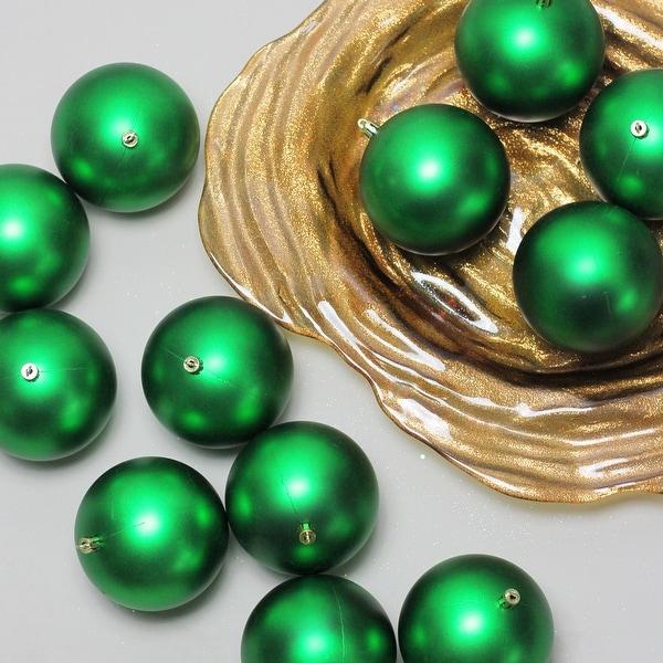 "12ct Xmas Green Shatterproof Matte Christmas Ball Ornaments 4"" (100mm)"