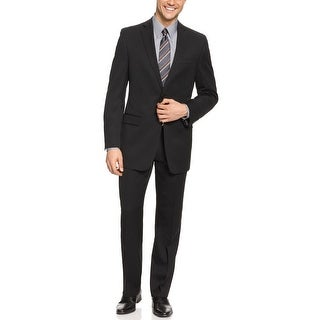 DKNY Men's Trim Fit Black Wool Suit 40 Long 40L Flat Front Pants 33W