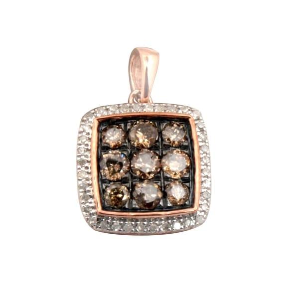 Brand New 0.50 Carat Round Brilliant Cut Natural Brown Diamond Pendant 10k Rose Gold
