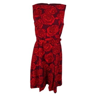 Anne Klein Women's Floral Print Boat Neck Dress - cordoba red combo - 6