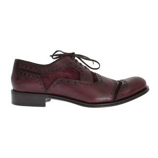 Dolce & Gabbana Bordeaux Leather Derby Wingtip Shoes - eu44-us11