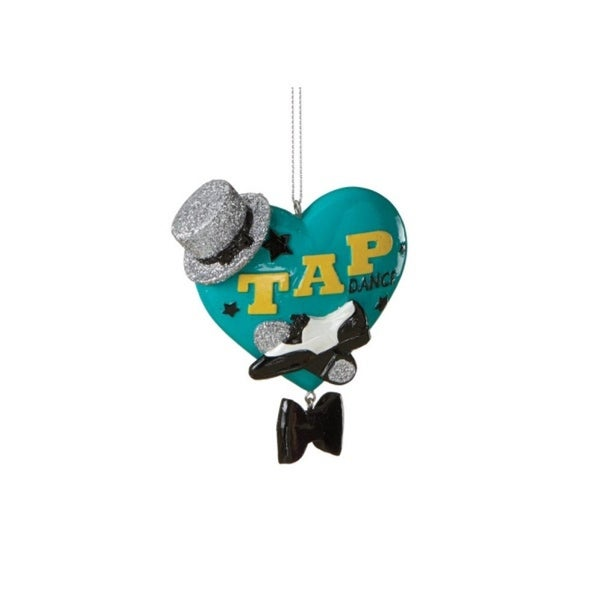 """3.5"""" Teal Tap Dance Heart Shaped Christmas Ornament"""