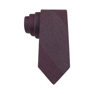 Calvin Klein Red Hot Flannels Striped Slim Tie Red and Graphite Grey - One Size Fits most