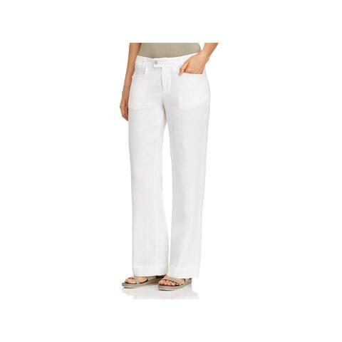 Foxcroft Womens Linen Pants Lightweight Flare Leg