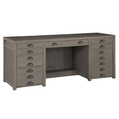 Solid Wood Veneer Executive Credenza Office Desk - Home Office