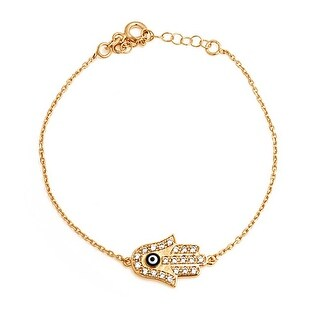 Bling Jewelry Gold Plated CZ Hamsa Hand Evil Eye Bracelet Sterling Silver 7.5in