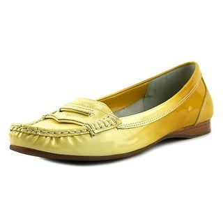 Franco Sarto L-Keen Women Moc Toe Leather Yellow Loafer