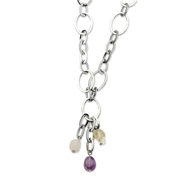 Chisel Stainless Steel Citrine, Amethyst, Rose Quartz 20 with 2 Inch Extension Necklace (18 mm) - 20 in