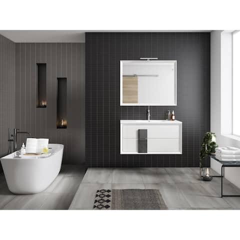 "Lucena Bath 40"" Decor Cristal Vanity 2 Drawer with Ceramic Sink"
