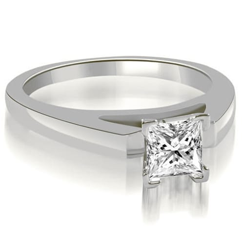 0.75 cttw. 14K White Gold Cathedral V-Prong Princess Diamond Engagement Ring