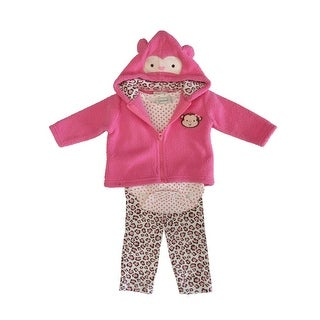 Kyle & Deena Baby Girls Pink Dotted Bodysuit Hooded Top 3 Pc Pant Set