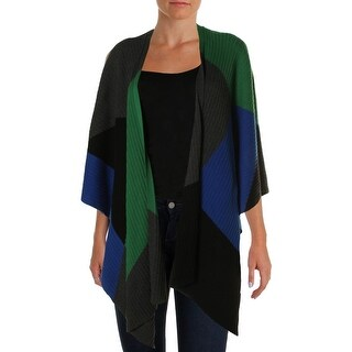 Vince Camuto Womens Modern Edge Heathered Colorblock Poncho Sweater