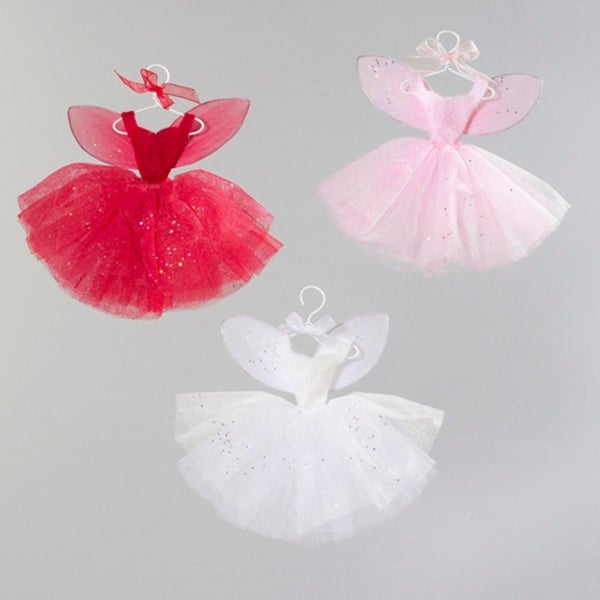 Set of 3 Pink, Red & White Fairy Whispers Dress Christmas Ornaments - multi