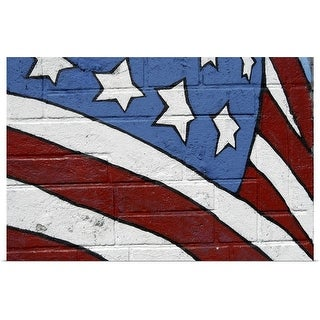 """USA flag, graffiti"" Poster Print"