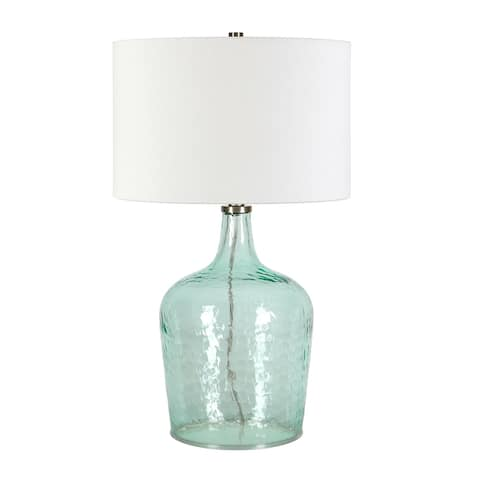 Casco Blue Glass Table Lamp with Brushed Nickel Accents