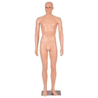 Costway 6 FT Male Mannequin Make-up Manikin Metal Stand Plastic Full Body Realistic - complexion