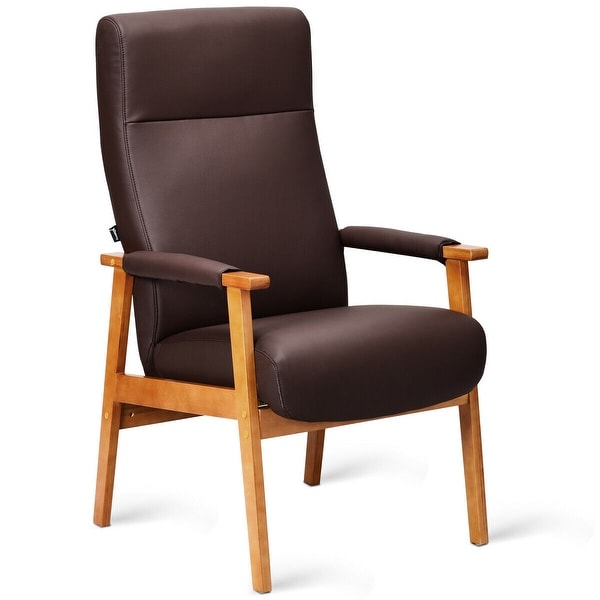 Shop PU Leather Arm Chair Accent Guest Chair Lounge High ...