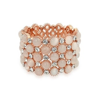 Bling Jewelry Rose Gold Plated Simulated Pink Cats Eye Stretch Bracelet
