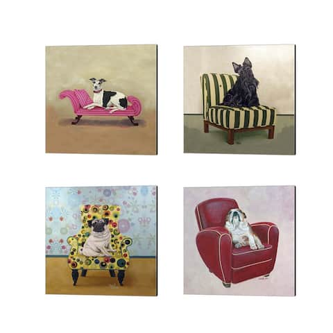 Carol Dillon 'Dogs on Chairs B' Canvas Art (Set of 4)