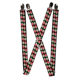Buckle Down Women's Elastic 1 Inch Wide Clip-End Owl Print Suspenders - Black - One Size