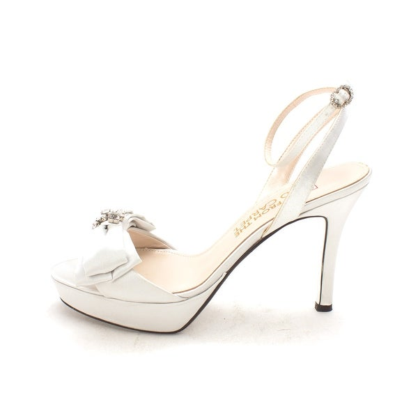 E! Live From the Red Carpet E0013 Platform Satin Sandals, Silver Satin, Size 9.5