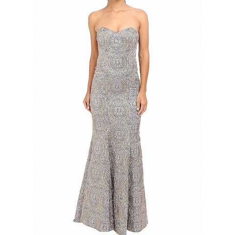 Nicole Miller Womens Strapless Embroidered Gown Dress
