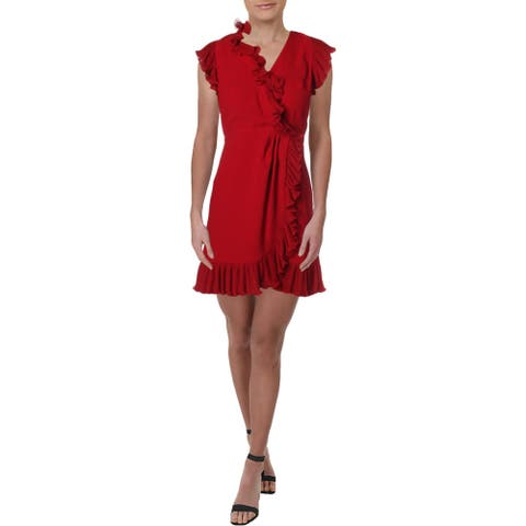 Jill Stuart Womens Wrap Dress V-Neck Ruffled - Ruby