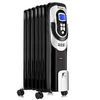 Costway 1500W Electric Oil Filled Radiator Heater LCD 7-Fin Timer Safety Shut-Off - Black