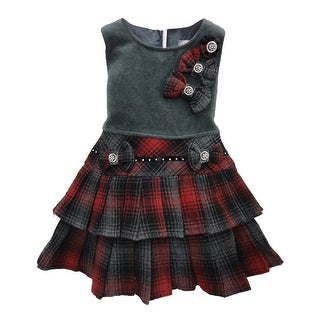 Little Girls Grey Red Plaid Bow Accented Tiered Pleated Christmas Dress 4-6