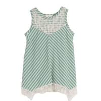 Isobella & Chloe Girls Green Sleeveless Stripe Lace Flower Top