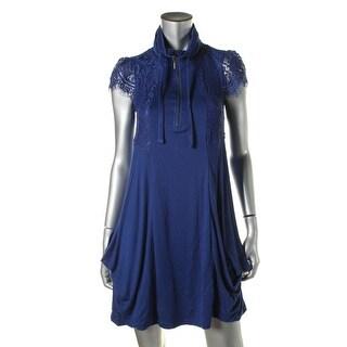 Kensie Womens Casual Dress Lace Trim Drapey
