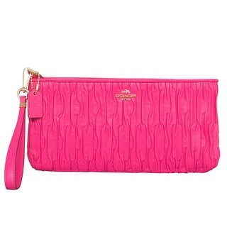 Coach Madison Gathered Pink Leather Zip Clutch Handbag Wristlet