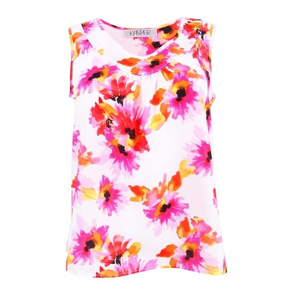 ba7d73aacb456 Shop Kasper Women s Petite Printed Pleat-Neck Top - Pink Perfection - On  Sale - Free Shipping On Orders Over  45 - Overstock - 21532122