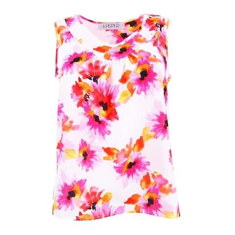 Kasper Women's Plus Size Shirred Top - Pink Perfection Multi