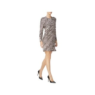 Calvin Klein Womens Party Dress Printed Puff Sleeves