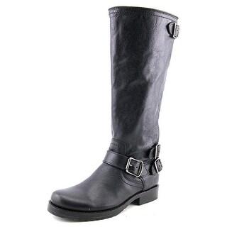 Frye Veronica Back Zip Tall Women Round Toe Leather Black Knee High Boot