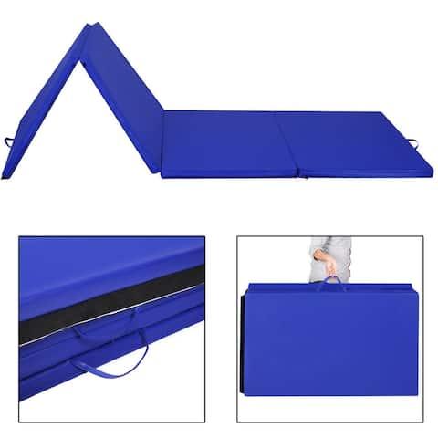 """Costway 4'x10'x2"""" Folding Gymnastics Gym Mats Blue Stretching Yoga"""