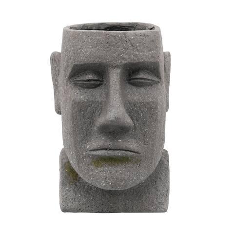 """12"""" Gray and Green Outdoor Moai Head Planter"""