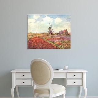 Easy Art Prints Claude Monet's 'Tulip fields in Holland' Premium Canvas Art