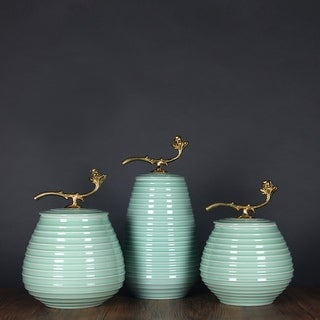 G Home Collection Luxury Turquoise Horizontal Line Accent Porcelain Jar With Copper Lid