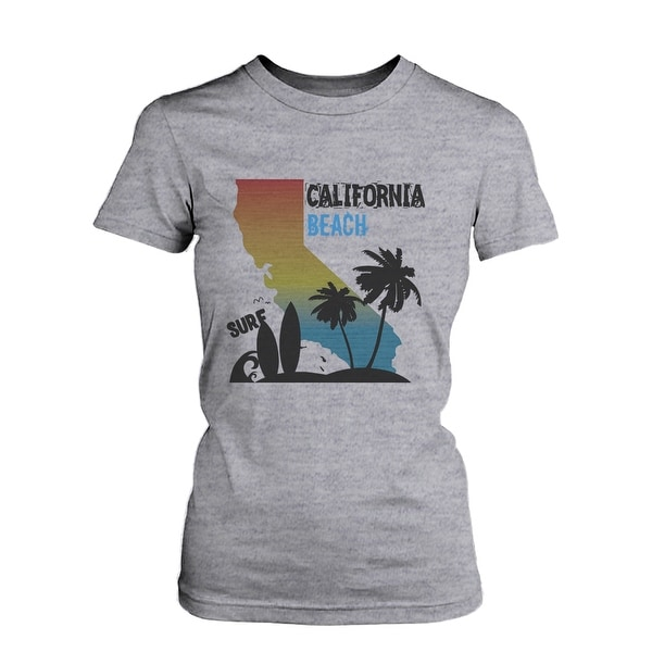 CA Map Gradation California Beach Surf Graphic T-shirt for Women Tee for Surfer  Funny Shirt