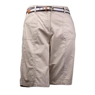 "Karen Scott Women's 12"" 3-Pockets Belted Bermuda Shorts"
