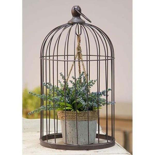 Wire Birdcage with Jute and Cement Plant Holder Large