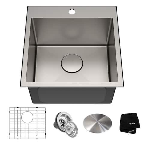 KRAUS Standart PRO Stainless Steel 18 in Topmount Drop-In Kitchen Sink