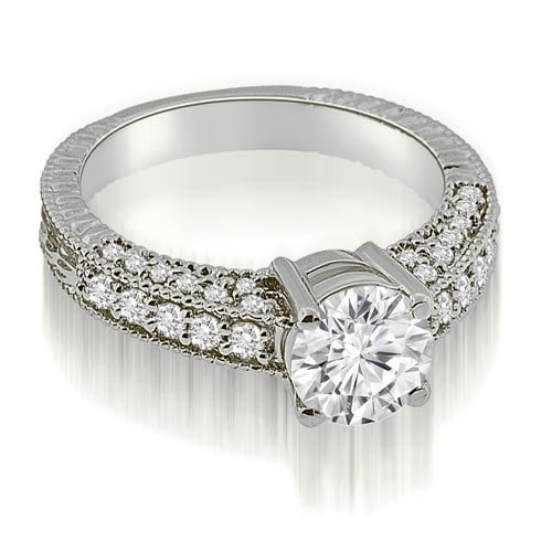 0.92 cttw. 14K White Gold Antique Milgrain Round Cut Diamond Engagement Ring