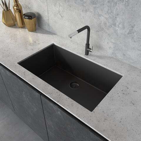 Ruvati 30 x 18 inch Granite Composite Undermount Single Bowl Kitchen Sink - Midnight Black - RVG2030BK