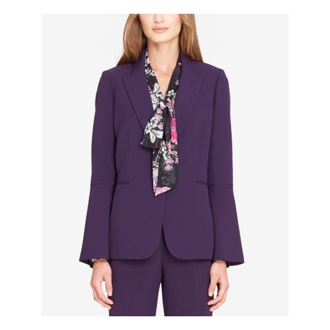 TAHARI Womens Purple Blazer Wear To Work Jacket Size 6