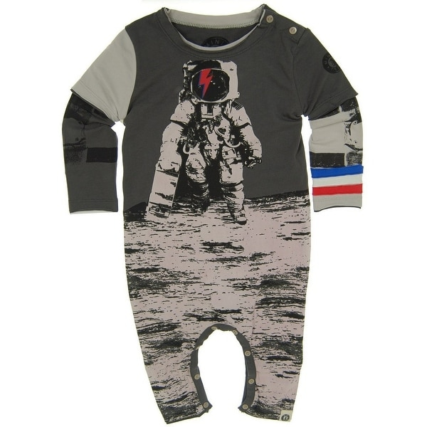 Mini Shatsu Baby Boys Grey Astronaut Skater Screen Print Twofer Romper18M